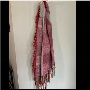 Free people pink and red  fringe scarf